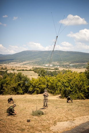 U.S. Marine Corps Lance Cpl. Jacob Olson, a radio operator with Black Sea Rotational Force 13, leads soldiers with Azerbaijan's Operational Capabilities Concept battalion through an antenna deployment exercise while holding the base of an OE-254 antenna during a communications platoon information exchange part of Exercise Platinum Lion 13 at Novo Selo Training Area, Bulgaria, July 20, 2013. BSRF-13 focuses on stability, counter-insurgency, and peacekeeping operations, in order to build partner-nation capacity, enhance interoperability between countries and increase overall effectiveness of participating military forces. (US Marine Corps photo by 1st Lt. Hector R. Alejandro/released)