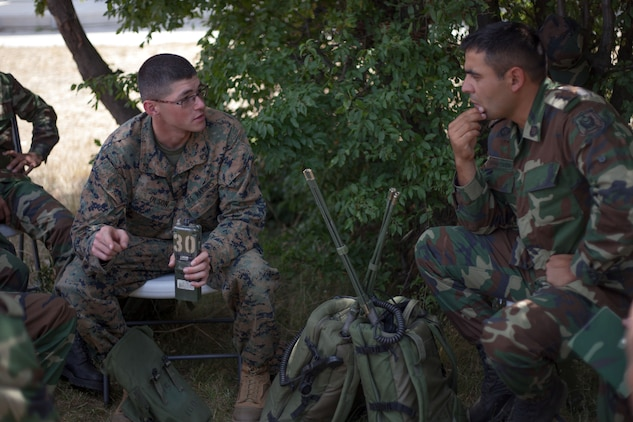 U.S. Marine Corps Lance Cpl. Jacob Olson, a radio operator with Black Sea Rotational Force 13, discusses handheld radio capabilities and limitations alongside soldiers with Azerbaijan's Operational Capabilities Concept battalion during a communications platoon information exchange part of Exercise Platinum Lion 13 at Novo Selo Training Area, Bulgaria, July 20, 2013. BSRF-13 focuses on stability, counter-insurgency, and peacekeeping operations, in order to build partner-nation capacity, enhance interoperability between countries and increase overall effectiveness of participating military forces.