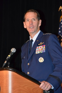 Director of the Air National Guard Lt. Gen. Stanley E. Clarke III speaks during an Armed Services and Veterans Affairs Awards luncheon in Orlando, Fla., July 16, 2013. Photo by Master Sgt. Thomas Kielbasa