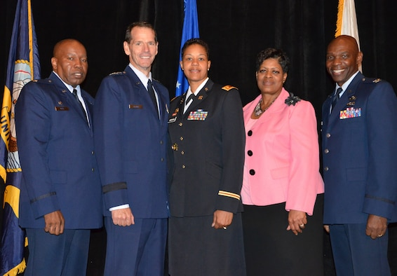 Director of the Air National Guard Lt. Gen. Stanley E. Clarke III (second from left) poses with NAACP award recipients from the National Guard during an Armed Services and Veterans Affairs Awards luncheon in Orlando, Fla., July 16, 2013. Also pictured are Lt. Col. Anderson Neal Jr. (left), Maj. Nathlon Jackson (center), Ms. Phyllis Brantley, and Col. Ondra Berry. Photo by Master Sgt. Thomas Kielbasa