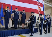 Base Honor Guard preforms the posting of the colors at the 27th Special Operations Mission Support Group change of command July 19, 2013 at Cannon Air Force Base. Col. David Piech relinquished command of the 27 SOMSG to Col. Heather Buono, former Chief of the Test Support Division at Arnold Air Force Base, Tenn. (U.S. Air Force photo/Senior Airman Ericka Engblom)