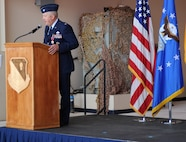 Col. David Piech makes a speech at the 27th Special Operations Mission Support Group change of command July 19, 2013 at Cannon Air Force Base. Col. David Piech relinquished command of the 27 SOMSG to Col. Heather Buono, former Chief of the Test Support Division at Arnold Air Force Base, Tenn. (U.S. Air Force photo/Senior Airman Ericka Engblom)