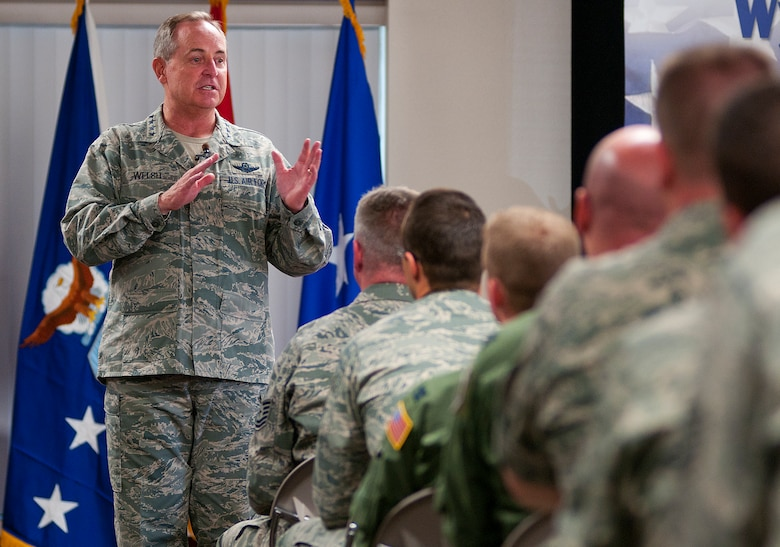 Air Force Chief of Staff Gen. Mark A. Welsh III speaks to members of the Wyoming Air National Guard after arriving at Cheyenne Regional Airport, Wyo., July 19, 2013. Welsh applauded the 153rd Airlift Wing's role in hosting the Air National Guard's first active duty associate unit, the 30th Airlift Squadron, as well as their contributions to ongoing firefighting efforts. He spoke about the important role each component plays in enabling airpower for the nation, while also addressing key issues affecting the service — like sequestration, furlough and sexual assault prevention response efforts. (U.S. Air Force photo by R.J. Oriez)