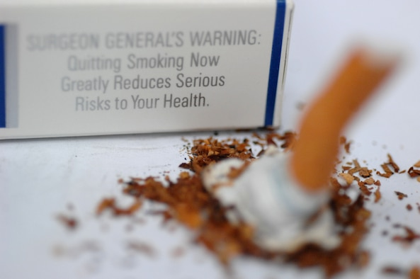 According to the Health and Wellness Center's Tobacco Cessation Class, the average smoker will attempt to quit five to seven times before achieving success. The Center for Disease Control states adverse health effects from cigarette smoking account for more than 440,000 deaths, or nearly one of every five deaths, each year in the United States. (U.S. Air Force photo illustration/Airman 1st Class Brittany Perry)