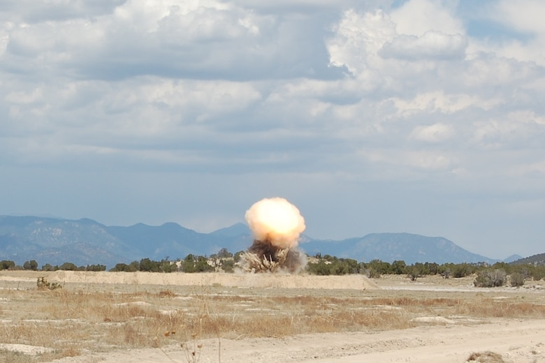 The 140th Explosive Ordnance Disposal Flight members built and detonated several explosives during the EOD Demo Day July 12, 2013 at Airburst Range, Fort Carson, Colo. as part of their routine training requirements. (U.S. Air National Guard photo by Capt. Kinder Blacke)