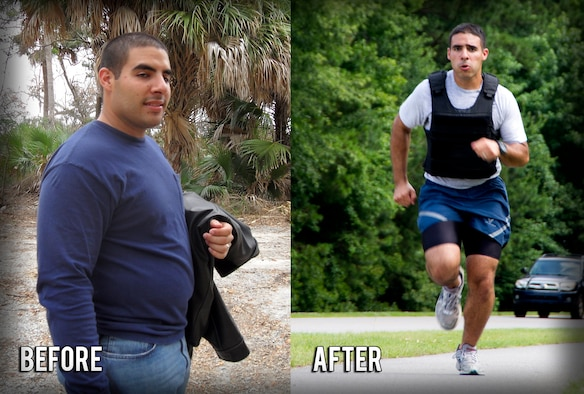 (Left) Senior Airman Jared Trimarchi, 628th Air Base Wing Public Affairs photo-journalist, weighed more than 250 pounds when he began his road to fitness, and today Trimarchi (right) has lost 62 pounds and continues to work out, eat healthy and help others reach their goals. (U.S. Air Force photo/ Senior Airman Melissa Goslin / U.S. Air Force graphic Airman 1st Class Tom Brading)