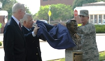 The Airlift Tanker Association inducted Medal of Honor recipient Staff Sgt. William H. Pitsenbarger into the ATA Walk of Fame with the unveiling of his bust July 18, 2013 at Scott Air Force Base, Ill.  More than 50 members of the ATA showed up for the Walk of Fame induction ceremony which gathered outside of the 375th Air Mobility Wing building. (U.S. Air Force photo/Senior Airman Divine Cox)