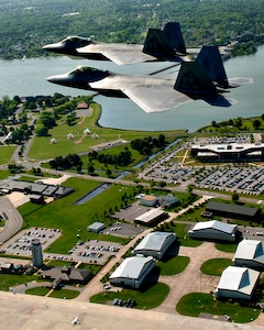 U.S. Air Force and Navy units participated in the Trident Warrior 2013 exercise over the Atlantic Ocean near the Hampton Roads, Va., area, July 8-19. The exercise tested an experimental Joint Tactical Information Distribution System between fourth and fifth-generation fighters, and included F-22 Raptors, F-15 Eagles, F-15 Strike Eagles, F-18 Hornets, T-38 Talons and E-2 Hawkeyes. (U.S. Air Force photo by Staff Sgt. John D. Strong II / Released)