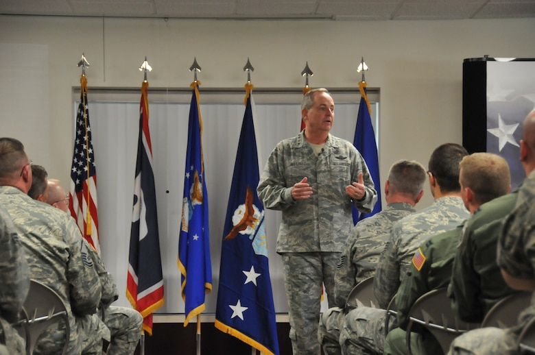 Air Force Chief of Staff Gen. Mark A. Welsh III addresses Airmen of the 153rd Airlift Wing, Wyoming Air National Guard, during an Airman's call July 19, 2013 in Cheyenne, Wyo. Welsh thanked the 153rd AW, discussed Air Force priorities and answered questions from the audience. (U.S. Air National Guard photo by Senior Airman Nichole Grady)