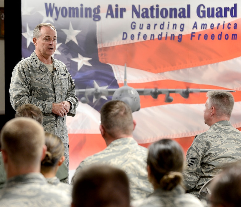 Air Force Chief of Staff Gen. Mark A. Welsh III speaks to members of the Wyoming Air National Guard after arriving at Cheyenne Regional Airport, Wyo., July 19, 2013. Welsh applauded the 153rd Airlift Wing's role in hosting the Air National Guard's first active duty associate unit, the 30th Airlift Squadron, as well as their contributions to ongoing firefighting efforts.  He spoke about the important role each component plays in enabling airpower for the nation, while also addressing key issues affecting the service -- like sequestration, furlough and sexual assault prevention response efforts. (U.S. Air Force photo by Scott M. Ash)