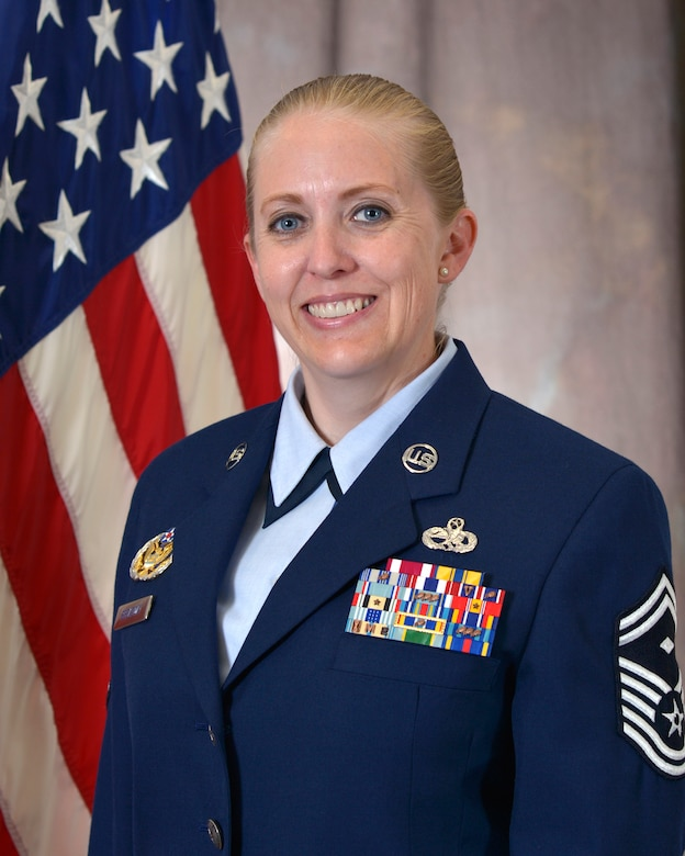 Senior Master Sgt. Marcy K. Broadway is the First Sergeant of The I.G. Brown Training and Education Center, McGhee Tyson Air National Guard Base, Tenn. As First Sergeant, she reports directly to the Commander to ensure a mission ready force and is responsible for the health, morale, welfare and conduct of all enlisted members assigned. (U.S. Air National Guard file photo/Released)