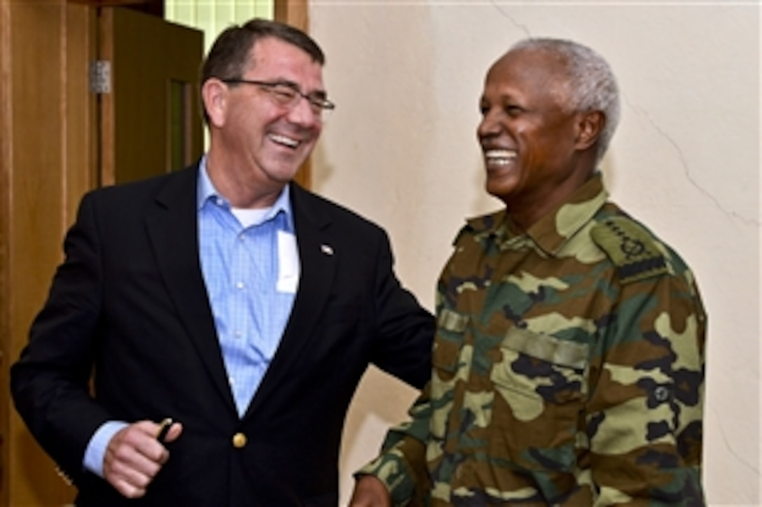 U.S. Deputy Defense Secretary Ash Carter meets with Ethiopian Army Gen. Samora Yunis, chief of staff for  Ethiopia's defense forces, at the Ethiopian National Defense Force headquarters in Addis Ababa, Ethiopia, July 24, 2013.