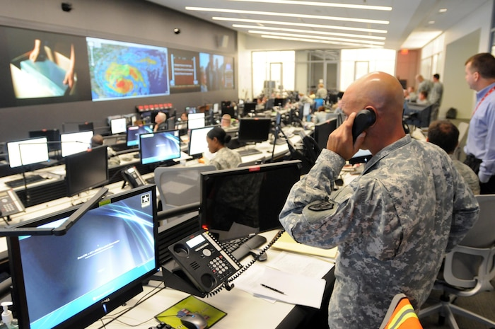 With about 101,000 Guard members ready to assist Eastern Seaboard states in the path of Hurricane Irene, the National Guard Command Center in Arlington, Va., seen here Aug. 26, 2011, is monitoring the storm and National Guard support to civilian authorities around-the-clock.