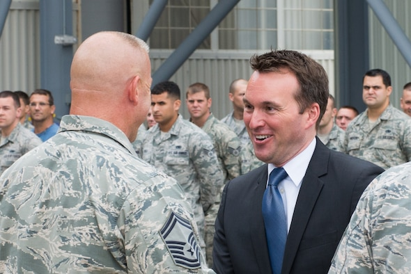 """Acting Secretary of the Air Force, Eric Fanning, visits Westover Air Reserve Base, Mass., July 25, 2013. During his tour of the nation's largest Air Force Reserve base, Fanning saw its joint-service mission, """"flew"""" a C-5 simulator, toured the base's control tower, and spoke to more than 450 troops about Air Force issues. (U.S. Air Force photo/MSgt. Todd Panico)"""