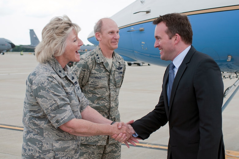 PEASE AIR NATIONAL GUARD BASE, N.H. -- Acting Secretary of the Air Force Eric Fanning is greeted by Brig. Gen. Carolyn Protzmann, N.H. Air National Guard commander, upon his arrival here July 24 for a visit with members of the 157th Air Refueling Wing. During his visit, Fanning met with Airmen from the 157th Maintenance Squadron and 157th Medical Group as well as holding an Airman's call July 25 with base personnel where he discussed sequestration and sexual assault before fielding questions from Airmen. (Air National Guard photo by Tech. Sgt. Aaron Vezeau/RELEASED)