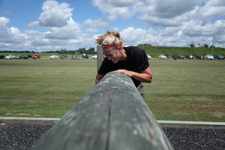 A Poolee with RS St. Louis maneuvers an obstacle during a monthly pool function July 27 in Greenville, Ill. For additional imagery visit https://www.facebook.com/stlouismarines?ref=tn_tnmn#!/stlouismarines. (U.S. Marine Corps photo by Cpl. Erik S. Brooks Jr.