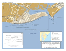 The Cape May Inlet to Lower Township project is located on the Atlantic coast of New Jersey, extending from the southwest jetty of Cape May Inlet to 3rd Ave. in Cape May City.  It includes the communities of the City of Cape May and Lower Township, and the US Coast Guard Training Center, all located in Cape May County.