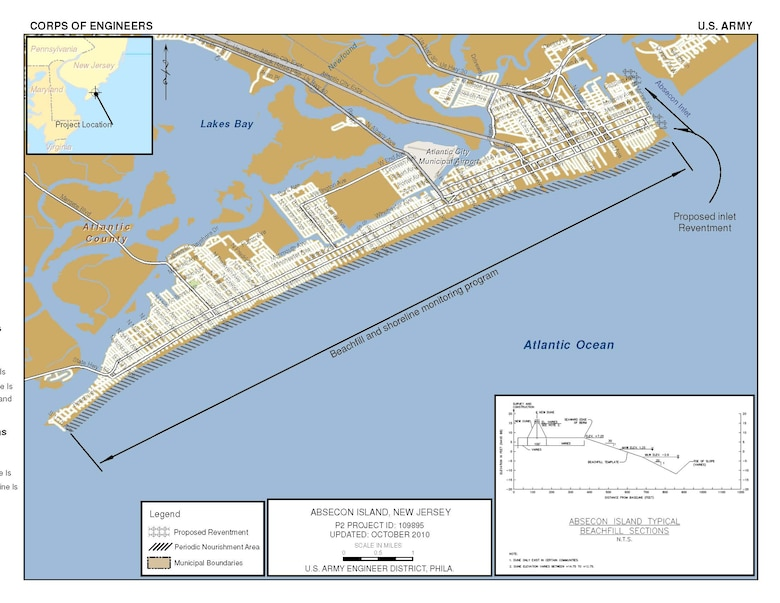 The Brigantine Inlet to Great Egg Harbor Inlet, Absecon Island project provides flood and coastal storm damage reduction along Absecon Island, NJ.