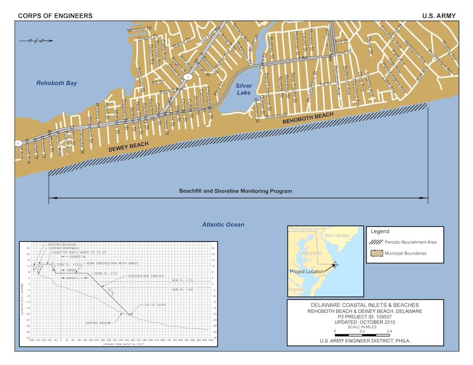 The Rehoboth Beach/Dewey Beach project consists of a continuous beachfill from the northern end of Rehoboth Beach to the southern border of Dewey Beach, a distance of 13,500 linear feet.