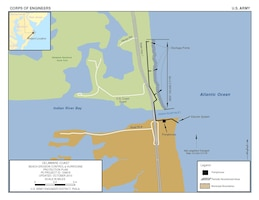 The Sand Bypass Plant, Indian River Inlet project  involves the pumping of approximately 100,000 cubic yards of sand annually to nourish approximately 3,500 feet of feeder beach on the north side of the Indian River Inlet