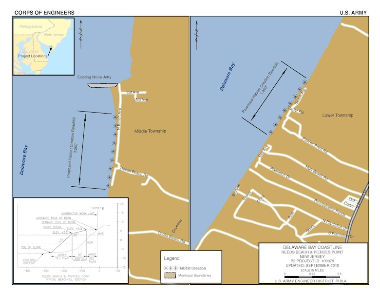 The plan for the purpose of ecosystem restoration at Reeds Beach and Pierces Point is an 80-foot wide berm at an elevation of +5.5 feet NAVD over a project length of 6,800 feet.  The plan entails a one-time placement of sand for horseshoe crab and shorebird habitat.