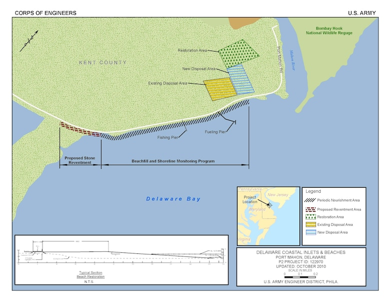 The plan proposed in the final feasibility report for the purpose of flood and coastal storm damage reduction and ecosystem restoration at Port Mahon consists of a 5,200 foot long beachfill with periodic nourishment to provide for horseshoe crab and shorebird habitat.  It also includes raising State Road 89 for a distance of 7,500 feet and placing riprap along a 1,200 foot length of the road to protect wetlands, and restoring 21.4 acres of degraded wetland habitat west of the road.