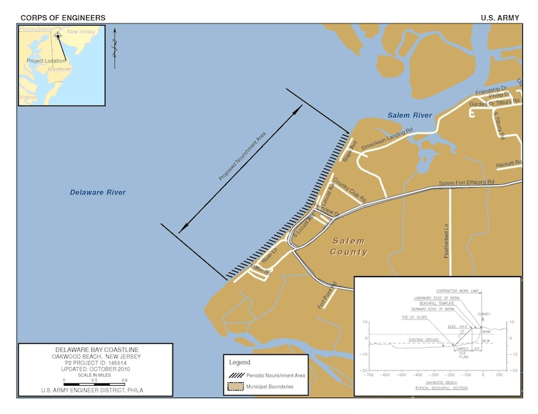 The Oakwood Beach project consists of a 50-foot wide berm at an elevation of +6.0 feet NAVD over a length of 9,500 lineal feet along the Delaware Bay Coastline in Elsinboro Township, Salem County, N.J.
