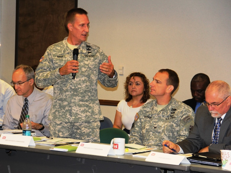 Brig. Gen. Thomas W. Kula, SWD commander, makes some key points with Corps partners during the SWD Hurricane Table Top Exercise in Dallas.