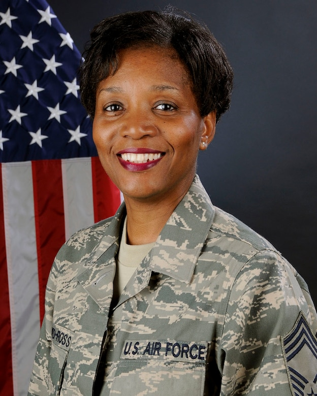 U.S. Air Force Chief Master Sgt. Bonita Floyd-Ross, with the 169th Mission Support Group at McEntire Joint National Guard Base, South Carolina Air National Guard, poses for her official portrait July 26, 2013.   (U.S. Air National Guard photo by Tech. Sgt. Caycee Watson/Released)