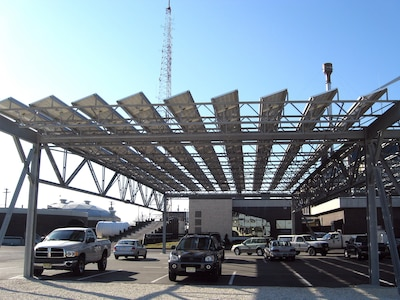 Solar power panels on a photovoltaic carport project located at the Atlantic City Utility Authority, Atlantic City, New Jersey (not constructed by Army Corps).