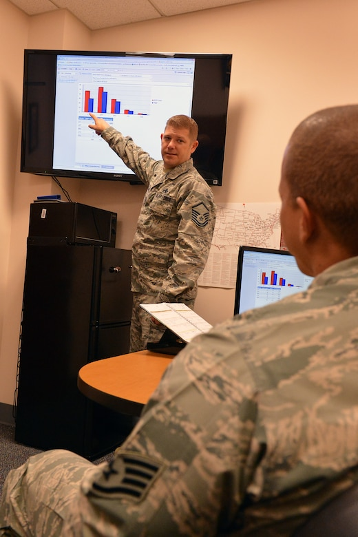 Master Sgt. Aaron Weslow, McChord Field career assistance advisor, provides career advice to a staff sergeant at the education office at Joint Base Lewis-McChord, Wash., July 30, 2013. Weslow helps Airmen with providing them career assistance advice on topics ranging from cross-training to separations.