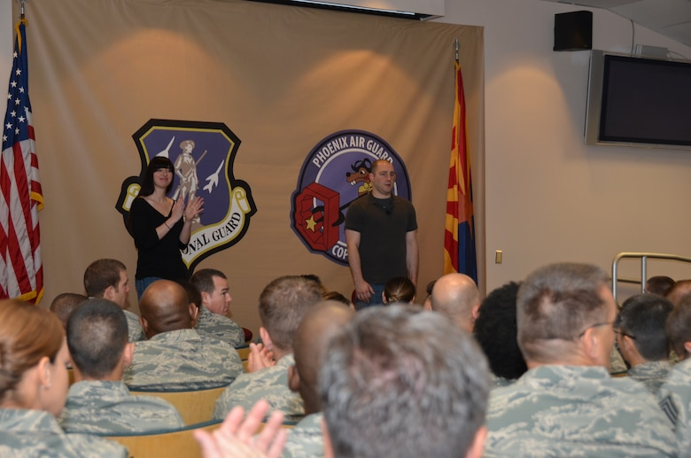 """Airmen from the 161 Air Refueling Wing, Phoenix, attend the interactive improv show """"Sex Signals"""" hosted by the 161 ARW Sexual Assault Prevention and Response Program on June 1, 2013. Actors Lindsey Pearlman and George Zerante focused on issues such as dating, sex, sexual assault and rape. (U.S. Air National Guard photo by SrA Joshua Morrison/Released)"""