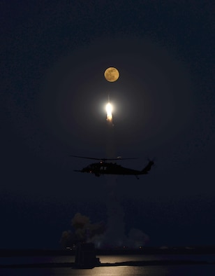 The 920th Rescue Wing supported a Delta IV rocket launch May 24, 2013. The launch from Cape Canaveral Air Force Station, Fla., lit up the night sky while Wing Airmen  safeguarded the hazard zone. (U.S. Air Force photo/Lt. Col. Rob Haston)