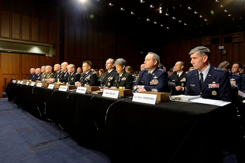 Air Force Chief of Staff Gen. Mark A. Welsh III and the Judge Advocate General Lt. Gen. Richard Harding appear before the Senate Armed Services Committee, June 4, 2013 in Washington, D.C.  During the hearing they testified alongside the chairman of the Joint Chiefs of Staff and the service chiefs from the other branches about combating sexual assault in the military.  (U.S. Air Force photo/Scott M. Ash)