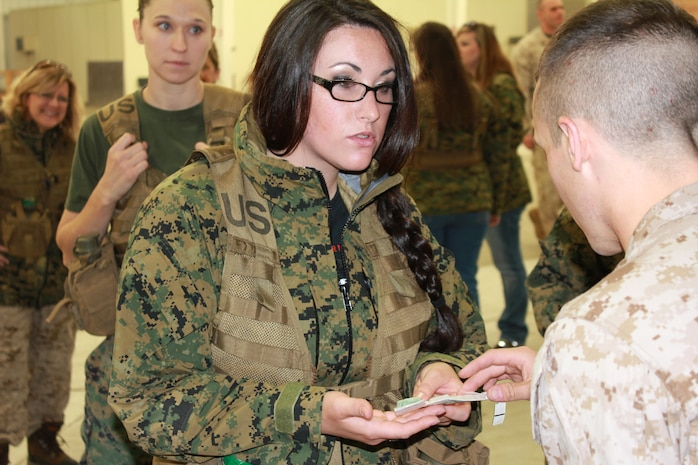 Spouses learn about how the Marine Corps trains for chemical weapons.