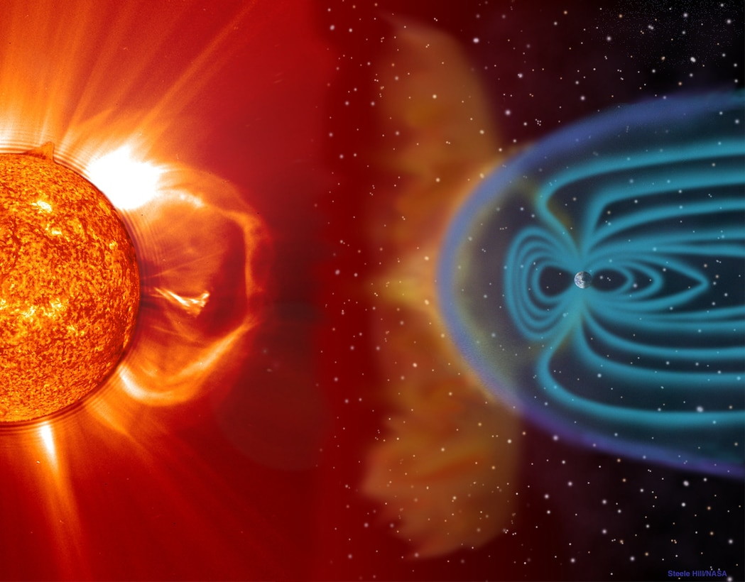 The Sun's magnetic field and the release of plasma directly affect Earth and the rest of the solar system. Solar wind shapes the Earth's magnetosphere and magnetic storms are illustrated here as approaching Earth. These storms, which occur frequently, can disrupt communications and navigational equipment, damage satellites, and even cause blackouts. The white lines represent the solar wind; the purple line is the bow shock line; and the blue lines surrounding the Earth represent its protective magnetosphere. The magnetic cloud of plasma can extend to 30 million miles wide by the time it reaches earth. (Image and caption courtesy of NASA Image Gallery)