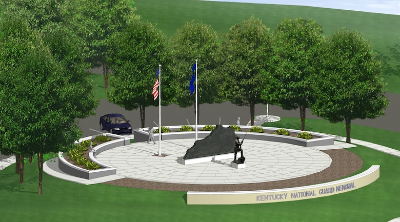The proposed Kentucky National Guard Memorial will feature the names of hundreds of Kentucky Army and Air National Guardsmen and women who made the ultimate sacrifice in service to their state and nation. The monument is slated for construction near the entrance to Boone National Guard Center in Frankfort, Ky. (Image courtesy Kentucky National Guard Memorial Fund)
