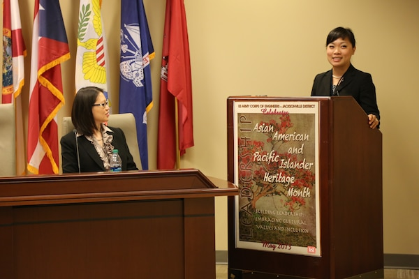 Florence Chen (right), a partner at Yau Law Firm, spoke to Jacksonville District employees May 13 for Asian American and Pacific Islander Heritage Month. Chen attended Florida Coastal School of Law and was involved in various honor societies and groups, included the nationally recognized Moot Court Honor Board and Mock Trial. Sandra Moschetierri, chief of the Finance and Accounting Branch (left) was the mistress of ceremonies for the event.