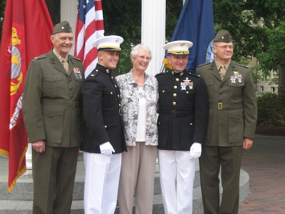 William Gerichten stands with his grandparents, uncle and father at his commissioning ceremony. The Gerichten family has 1-5 years of combined service in the Marine Corps.