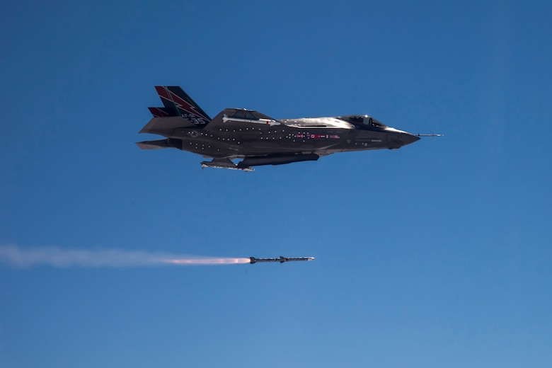 An F-35A conventional take-off and landing aircraft completed the first in-flight missile launch of an AIM-120 over the Point Mugu Sea test range on June 5, 2013. (Courtesy F-35 Program Office)