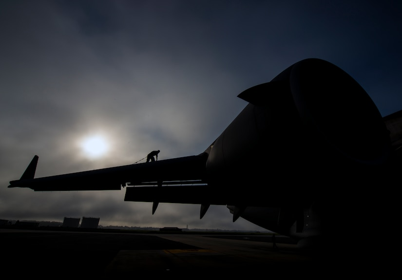 Tech. Sgt. Andrew Gravett, 437th Aircraft Maintenance Squadron crew chief, walks along the top of a C-17 Globemaster III wing while wearing a safety harness as he does a routine maintenance check of the aircraft June 4, 2013, at Joint Base Charleston – Air Base, S.C. The first C-17 to enter the Air Force's inventory arrived at Charleston Air Force Base in June 1993. The C-17 is capable of rapid strategic delivery of troops and all types of cargo to main operating bases or directly to forward bases in the deployment area. (U.S. Air Force photo/Senior Airman Dennis Sloan)