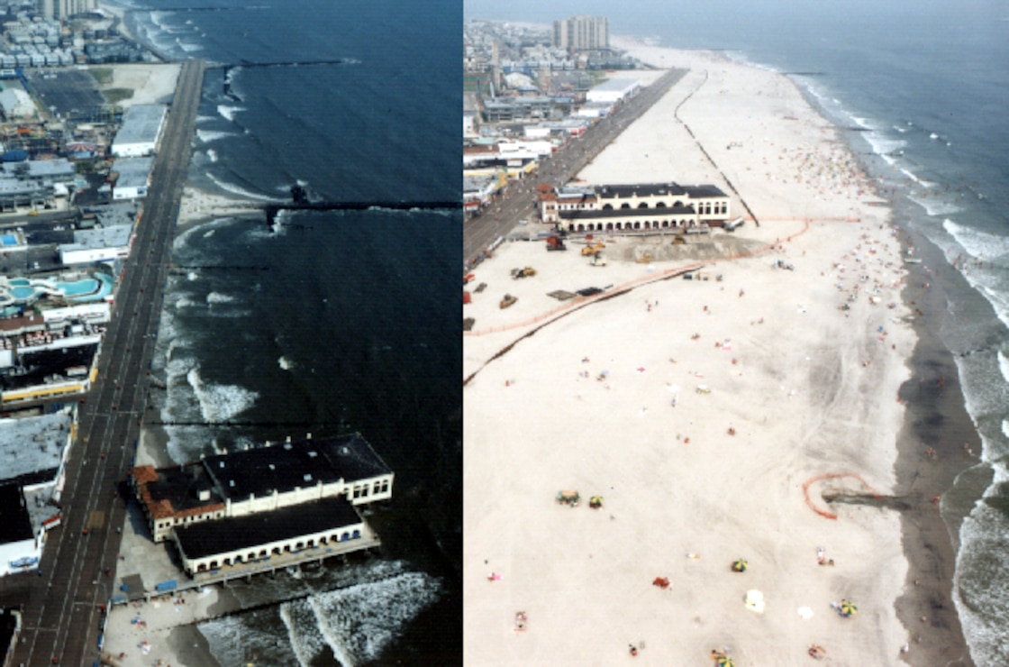 The Great Egg Harbor and Peck Beach, (Ocean City) project was first constructed in 1992 and has been periodically nourished over the years resulting in a wider beach. The project is designed to reduce damages from coastal storms.