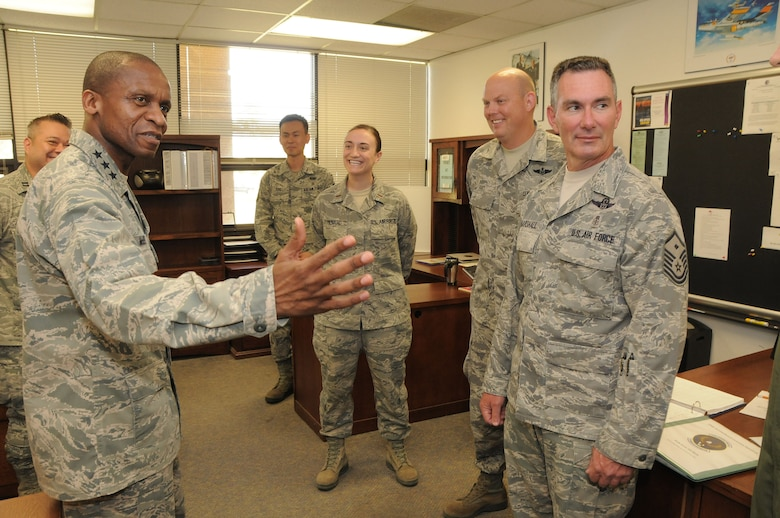Lt. Gen. Darren McDew commander of the 18th Air Force speaks with, right to left, Master Sgt. Doug Marshall, Senior Master Sgt. Phil Hart, 2nd Lt. Lauren Menard and Master Sgt. Heejong You all members of the 146th Aeromedical Evacuation Squadron on May 11, 2013. McDew?s visit was part of an overall familiarization tour of the missions and facilities at the 146th Airlift Wing, California Air National Guard, Port Hueneme, Ca. Air National Guard photo by Master Sgt. Dave Buttner