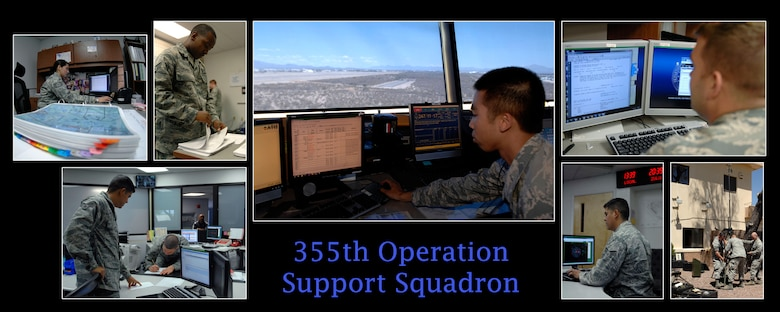 The 355th Operations Support Squadron directs operational support functions such as base operations, air traffic control and intelligence. They also develop flying schedules for roughly 14,000 sorties a year.
