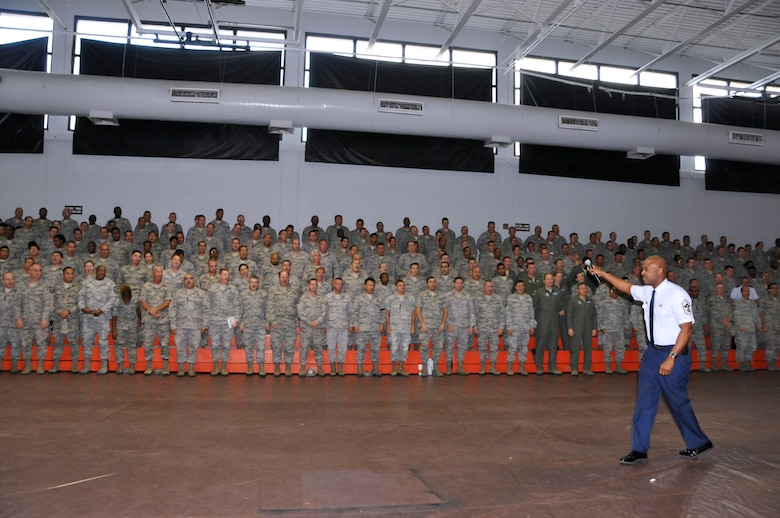 Previous 482nd Fighter Wing command chief, Cameron Kirksey, rallies Airmen during a commander's call at Homestead Air Reserve Base, Fla., Jan. 30, 2012. (U.S. Air Force photo)