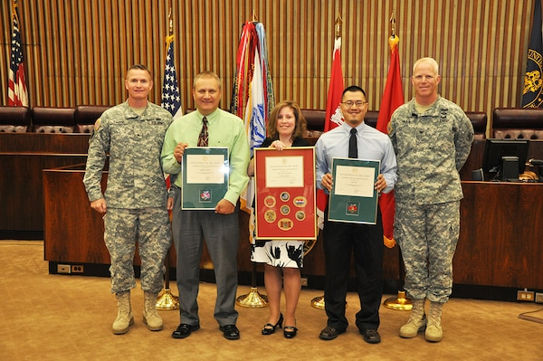 Recent graduates of the New York District Leadership Development Program and the North Atlantic Division Executive Leadership Development Program were honored during New York District's June 5, 2013 Town Hall. Pictured, l to r, North Atlantic Division Commander Brig. Gen. Kent Savre, LDP graduate Mark Jurcic, ELDP graduate Jodi McDonald, LDP graduate Jun Yan and New York District Commander Col. Paul Owen.