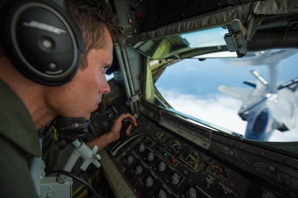 U.S. Air Force Tech Sgt Joe Parker, KC-135 Stratotanker boom operator, 336th Air Refueling Squadron, March ARB, Calif., refuels an F-35A Lightning II Joint Strike Fighters from the 58th Fighter Squadron, 33rd Fighter Wing, Eglin AFB, Fla., May 16, 2013. The 33rd Fighter Wing is a joint graduate flying and maintenance training wing that trains Air Force, Marine, Navy and international partner operators and maintainers of the F-35 Lightning II. (U.S. Air Force photo by Master Sgt. John R. Nimmo, Sr./RELEASED)