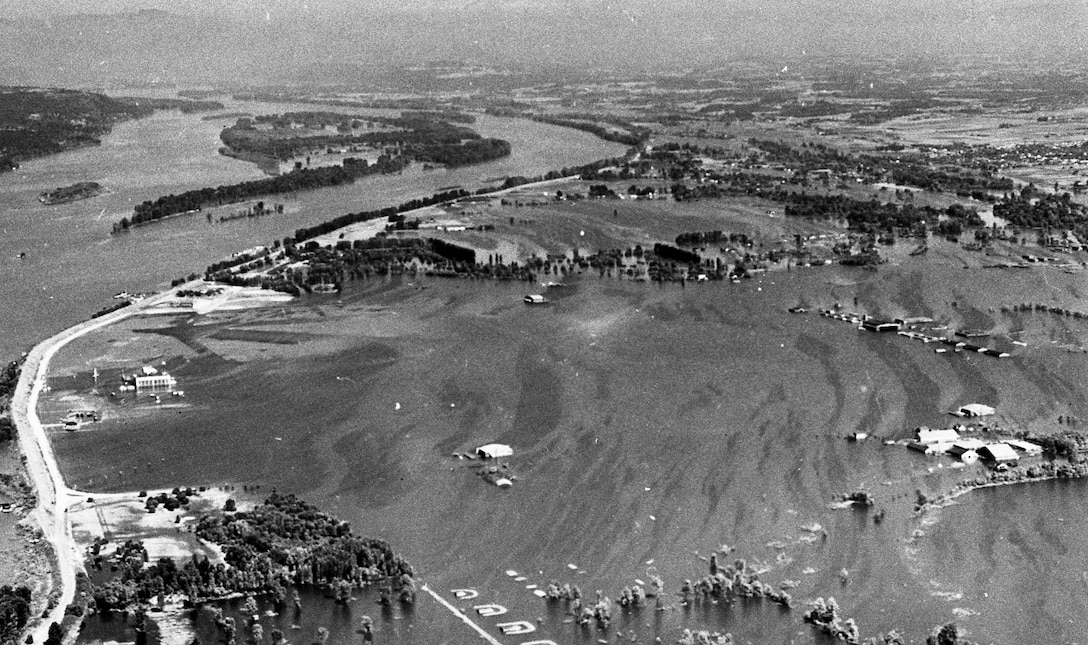 On Memorial Day, May 30, 1948, the Vanport flood engulfed the Portland Air National Guard Base, Portland, Ore. This aerial image depicts the air base after the flood waters breached the Columbia River. (Oregon Air National Guard historical photo).