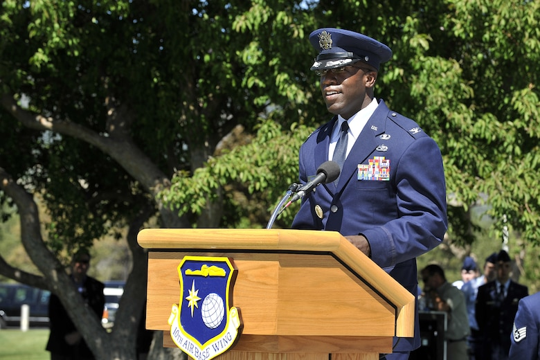 Col. Stacey Hawkins speaks after assuming command of the 10th Air Base Wing June 10 during the change of command ceremony at the Air Force Academy. (U.S. Air Force Photo/Raymond McCoy)