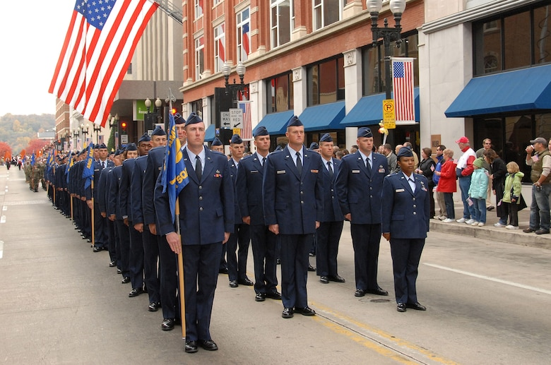 KNOXVILLE, Tenn. – Ninety-four U.S. Air National Guard officer candidate students enrolled in the Academy of Military Science at The I. G. Brown Training and Education Center, McGhee Tyson Air National Guard Base, march in the Veterans Day Parade in downtown Knoxville Nov. 11, 2008.  After 38 years and more than 14,600 officers commissioned, AMS moved the six-week course to Maxwell Air Force Base, Ala., in 2009 to form a partnership with the Air Force's Officer Training School.  The move provided a shared, common experience for all officer candidates in the Total Air Force.  (U.S.  Air National Guard photo by Master Sgt. Kurt Skoglund/Released)